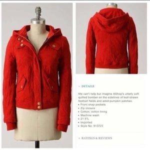 Anthropologie Allihop red bomber jacket
